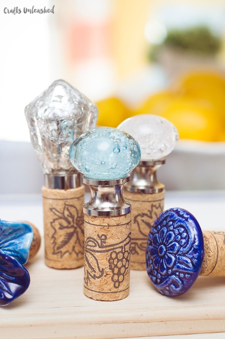 DIY wine cork stoppers from Crafts Unleashed