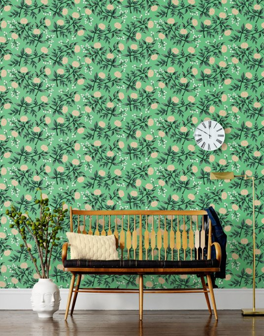 Peonies mint room wallpaper