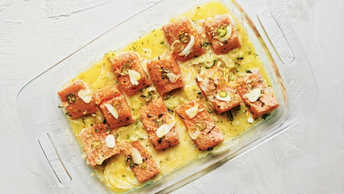 Slow-cooked salmon with fennel, coriander and
