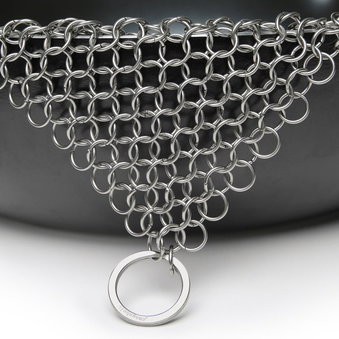 Amagabeli Stainless Steel Chain Mail for Cast Iron Pans