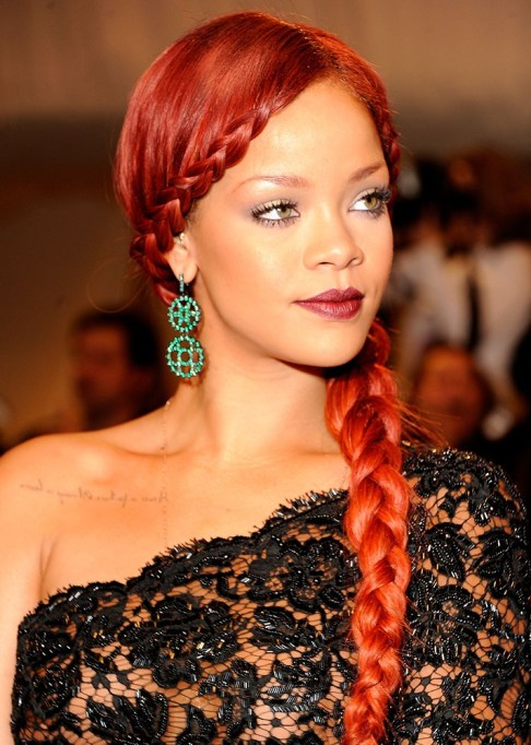 Best Celebrity French Braids: Rihanna's French Braided Bangs | Celeb Hairstyles 2017