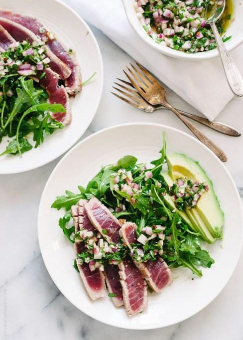 50 Easy Summer Salads: Seared Ahi Tuna With Chimichurri Sauce, Arugula And Avocado | Summer Eats