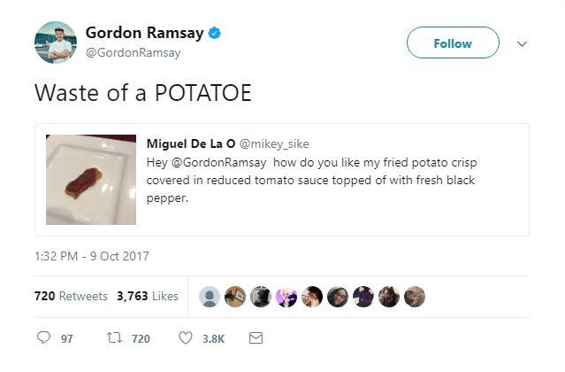 Gordon Ramsay's Meanest Tweets: Putting the TOE in potato