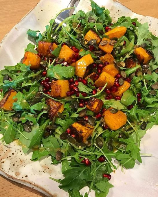 Chrissy Teigen Mouth Watering Recipes: Salad roasted butternut squash over arugula with a garlic honey dijon dressing | Celebrity Eats