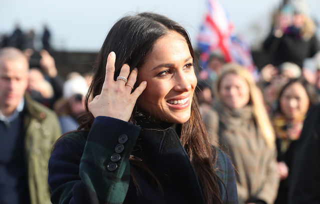 Meghan Markle among a crowd of well-wishers during her visit to Edinburgh Castle