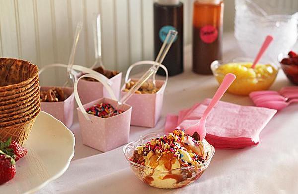 Ice cream sundae buffet with all