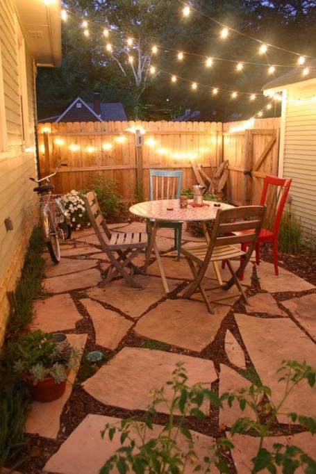 Twinkly lights in backyard