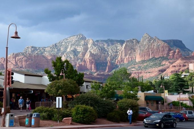 Sedona, Arizona, red rocks above town