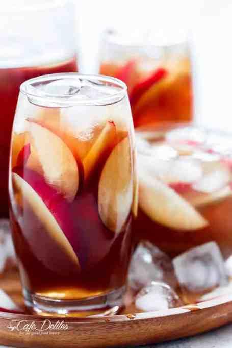 White peach iced tea