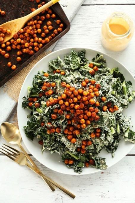50 Easy Summer Salads: Garlicky Kale Salad With Crispy Chickpeas | Summer Eats