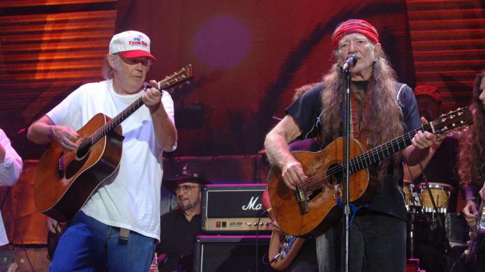 Neil Young and Willie Nelson protest