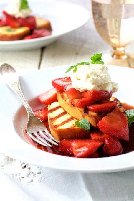 Grilled dessert recipes: Mascarpone tames tangy balsamic strawberries and grilled pound cake in this recipe