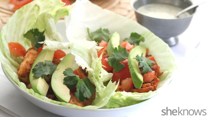 Healthy fish taco lettuce wraps for