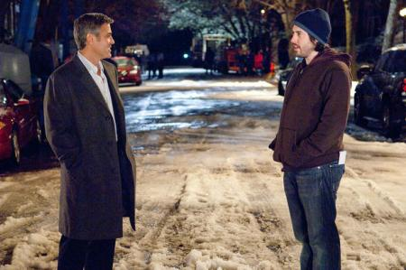 George Clooney and director Jason Reitman on Up in the Air's set