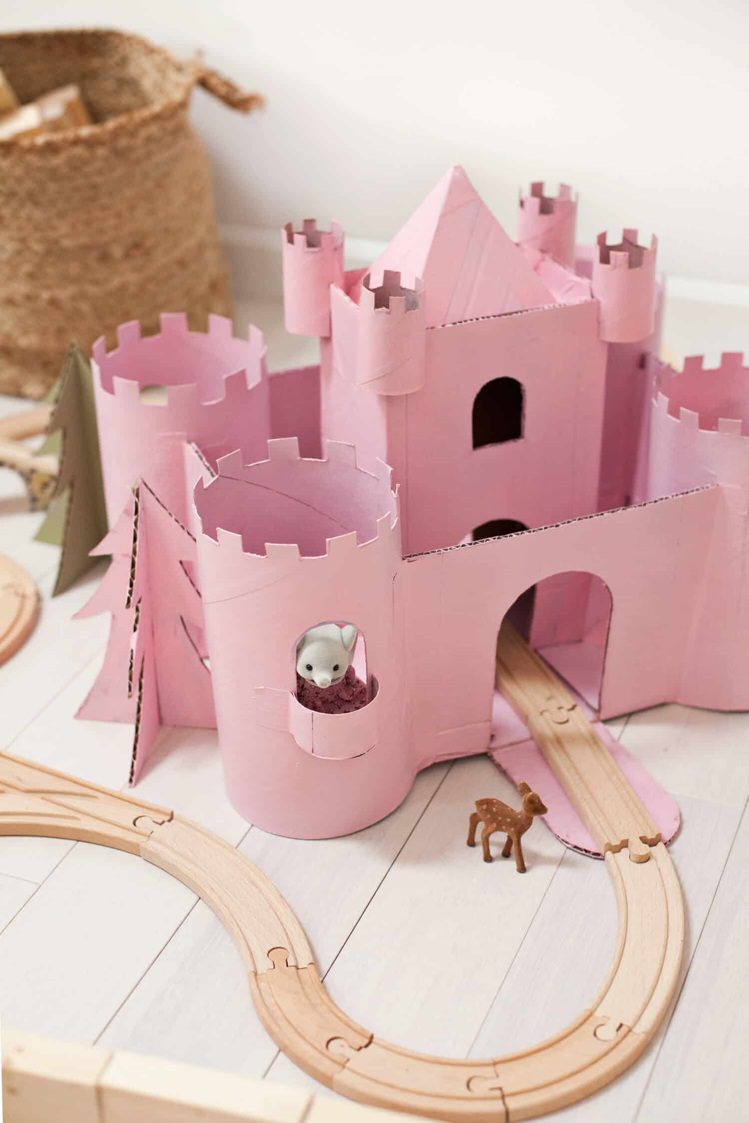 Upcycled cardboard castle summer activity