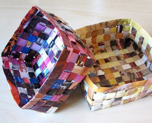 recycled magazine baskets