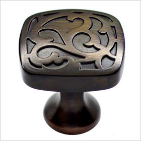 aged bronze round cabinet knob