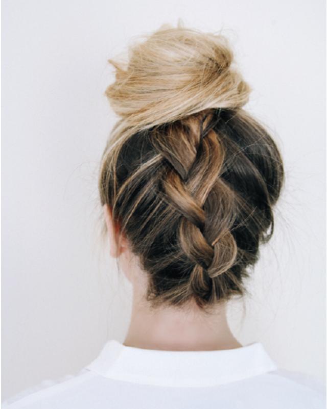 upside down braided bun