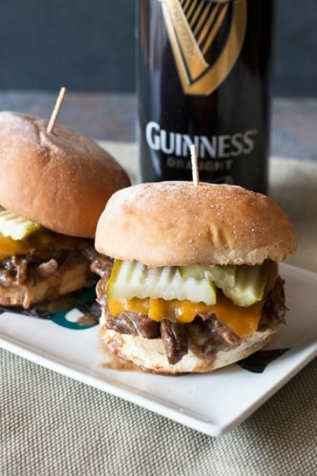 Guinness-braised short rib sliders with beer on side