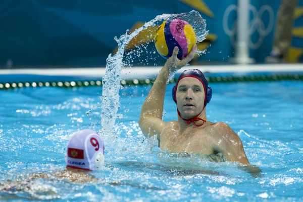 US Men's Water Polo Team Player Vs. Montenegro at the Olympics