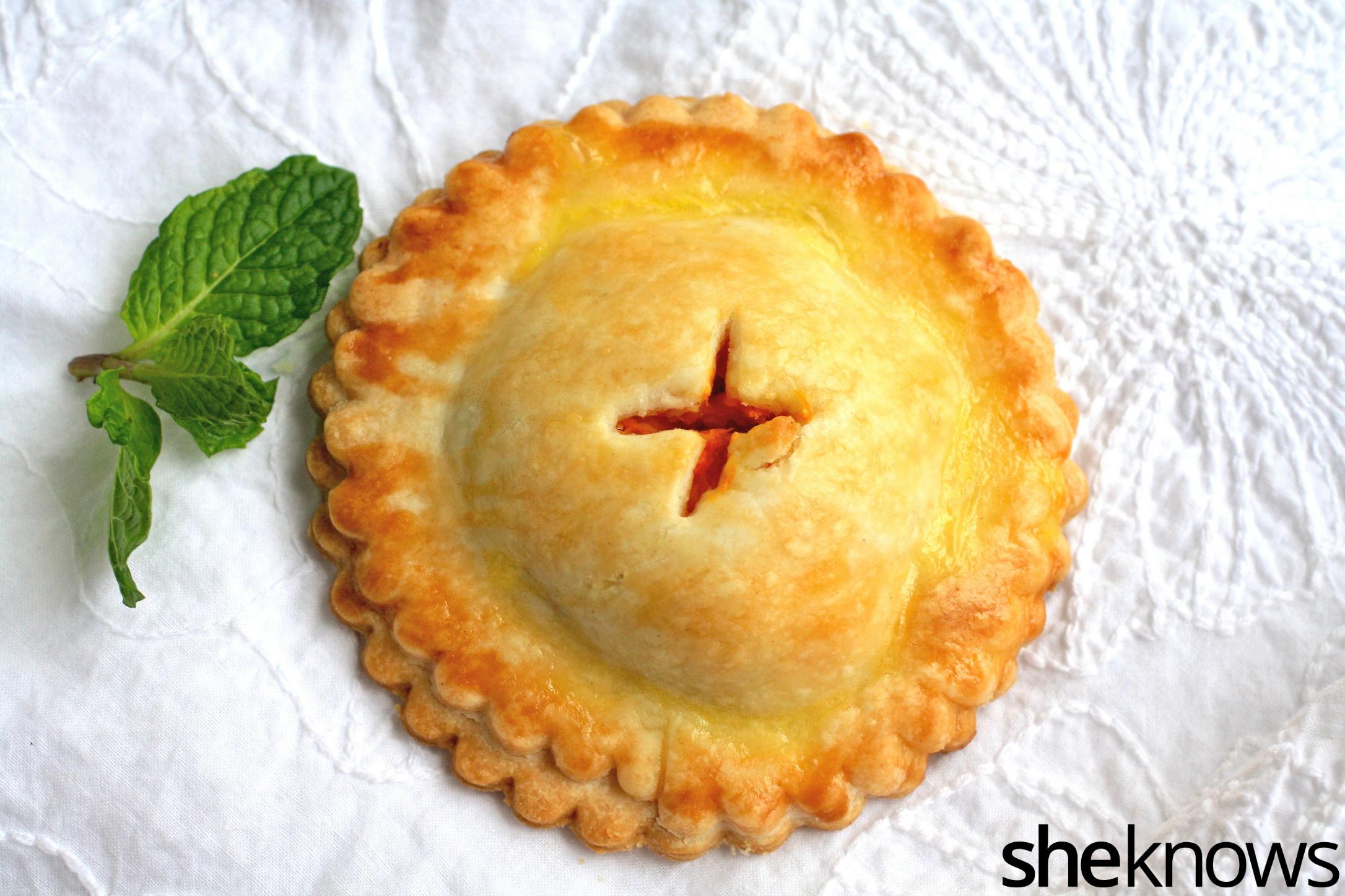 One single, savory chickpea and sweet potato hand pie