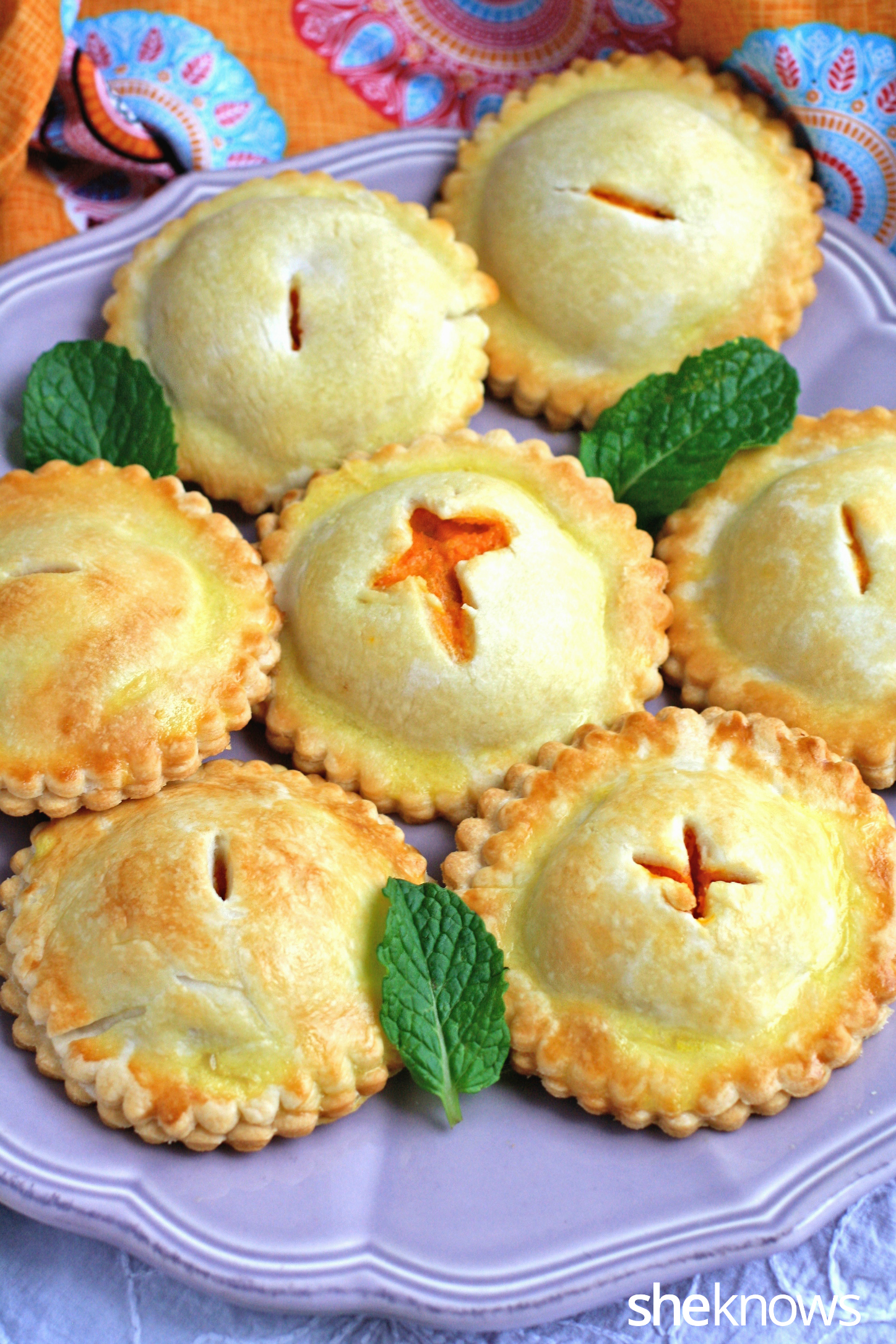 A plate of savory chickpea and sweet potato hand pies