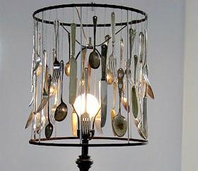 Vintage flatware lamp