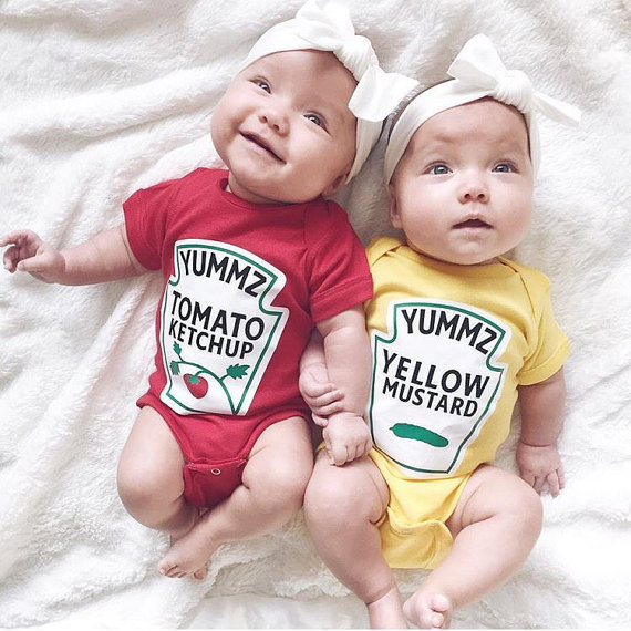 Ketchup and mustard twin onesie