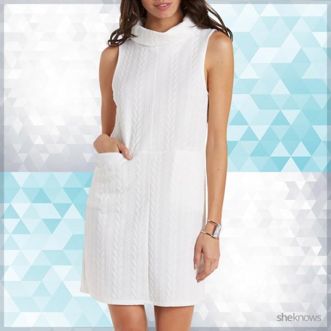 White sleeveless cowl neck sweater dress