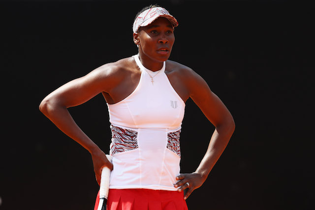 Venus Williams of USA looks dejected in her match against Anett Kontaveit of Estonia during day 5 of the Internazionali BNL d'Italia 2018 tennis at Foro Italico