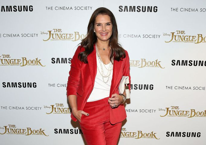 Brooke Shields in a red suit