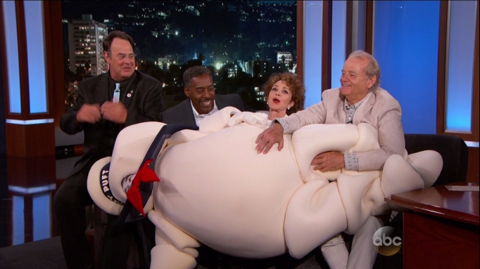 Original Ghostbusters cast with Stay Puft Marshmallow Man