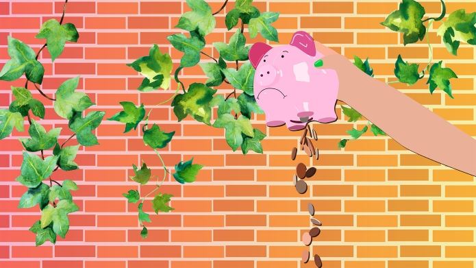 Piggy bank being emptied