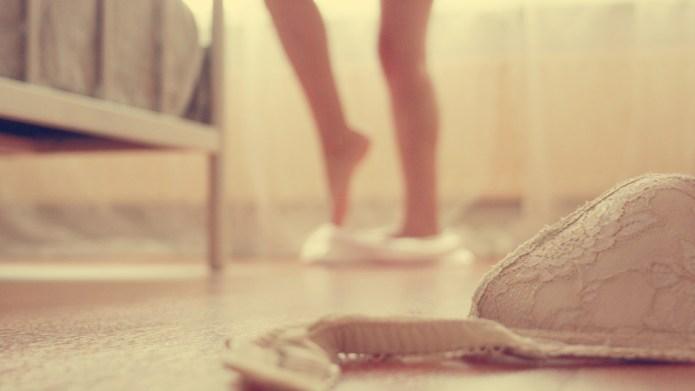 Woman's blurred legs.