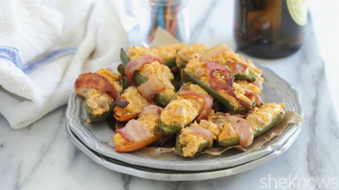 Bacon-wrapped Buffalo chicken jalapeño poppers are
