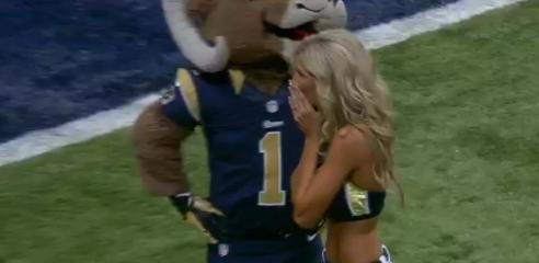 St. Louis Rams cheerleader gets surprise