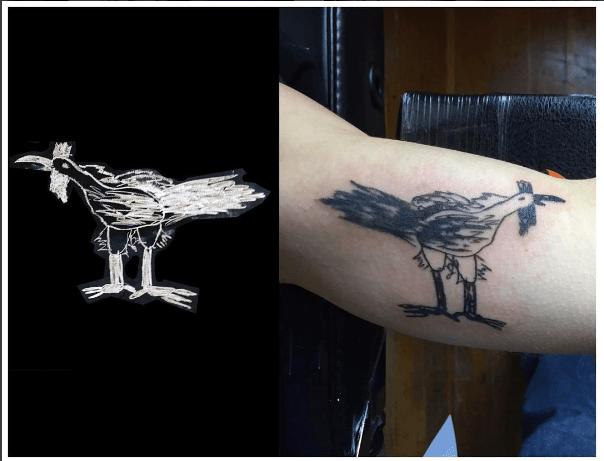 Kid chicken tattoo