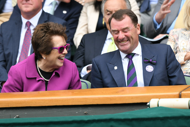 Billie Jean King and Wimbledon Chairman Philip Brook attend day eight of the Wimbledon Tennis Championships at the All England Lawn Tennis and Croquet Club