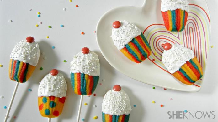 Madeleine cookie cupcake pops will make