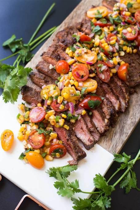 Chili-Rubbed Steak with Corn and Tomato Salsa