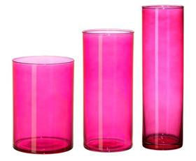 Pink cylinder vases