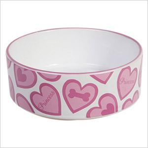 heart dog bowl