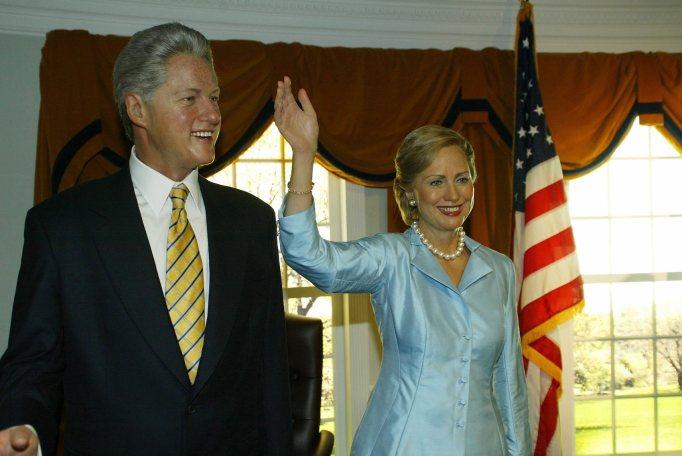 Wax figurines of Bill and Hillary Clinton
