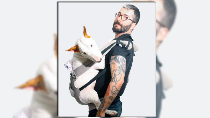 Adorable bull terrier helped a guy