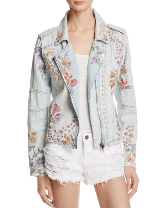 Cool Denim For Fall: Embroidered moto jacket | Fall Fashion 2017
