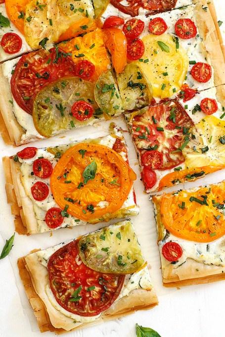 Tomato-ricotta phyllo tart