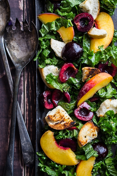 Cherry kale panzanella salad from Jelly Toast