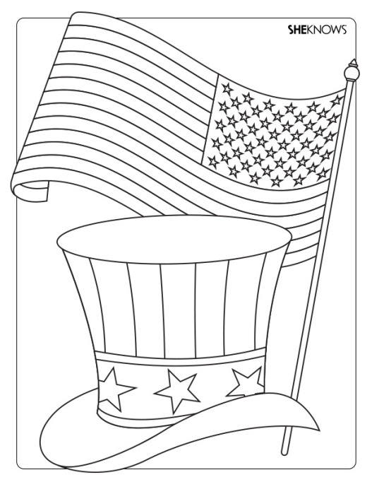 Flag and top hat coloring page printable