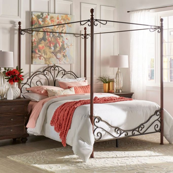 Modern Victorian Decor: A canopy bed adds instant elegance