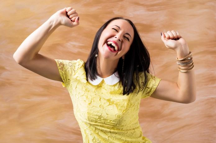 Woman celebrating her success